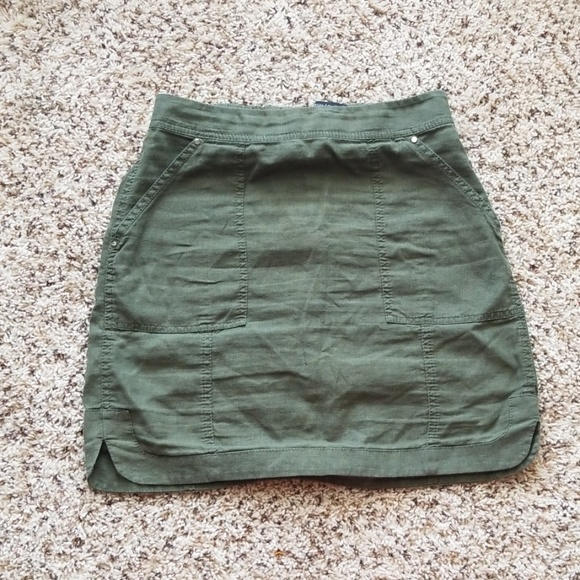 White House Black Market Dresses & Skirts - Dark Green Linen Skirt